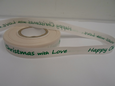 Cream & Green 2 or 20 metres 15mm Happy Christmas with Love Woven Ribbon Xmas Roll Craft